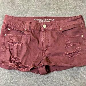 NWOT burgundy denim shorts